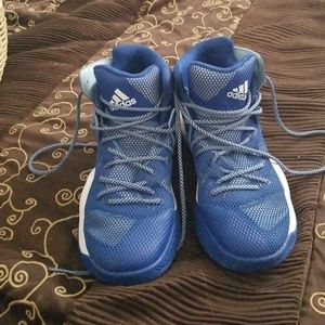 Mens Adidas blue and white net shoes